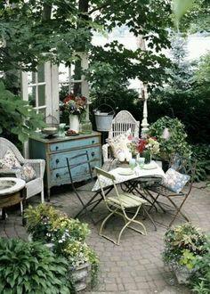 37 Wonderful Bohemian Patio Designs : 37 Beautiful Bohemian Patio Designs With White Chair Table Blue Wooden Table Window Plant Decor