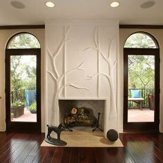 Plaster Relief Tree.  Wish I could do thus with my fireplaces.  Definitely not a project for the non-sculptor.