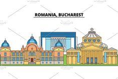 Urban Icon, Romania Bucharest, Flat Design, Graphic Illustration, Romanian Wedding, Taj Mahal, Buildings, Around The Worlds, Skyline