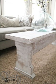DIY Farmhouse Bench... or coffeetable - or both! Step by step tutorial on how to make this beauty by the Shanty2Chic sisters! Finish it off with Rust-Oleums new Chalked paint. http://www.rustoleum.com/product-catalog/consumer-brands/chalked
