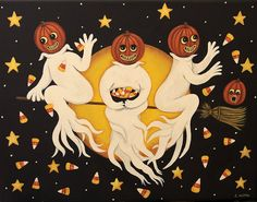Folk Art Halloween Card -Three Ghosts Flying Through the Night Sky Tossing Candy Corn - Custom Greeting Card -Choose Your Own Inside Message by RavensBendFolkArt on Etsy Halloween Art, Halloween Themes, Vintage Halloween, Country Art, Custom Greeting Cards, Whimsical Art, Folk Art, Canvas Art, Ghosts