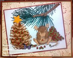 Linda's Creations Cards & Crafts: House Mouse Pinecone Tree stamp
