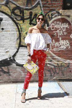 little bit tropical. Leandra looking well cool in NYC. #LeandraMedine #ManRepeller