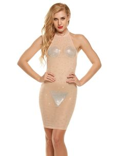Sexy See Through Halter Sequined Backless Mesh Club Party Wear Dress