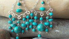 Lake Breeze Chandelier Earrings- Long Turquoise Chandelier Earrings -Sterling Silver-Turquoise Earrings, Statement Earrings-Vegan by WaterRhythmGems on Etsy
