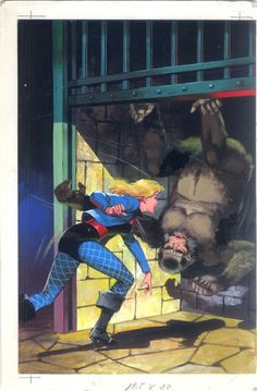 Black canary vs Gorilla - French cover painting