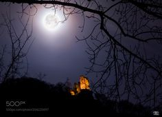 """Dragon's Rock (Drachenfels) by mikki_rat_ from http://500px.com/photo/204225697 - The bright glowing moon over the Dragon's Rock ruins (Drachenfels in German) made me imagine a """"dragon wolf"""" howling :D. I had to superimpose a separate picture of the moon for a bit details and lowered its opacity to blend with the base picture.. More on dokonow.com."""