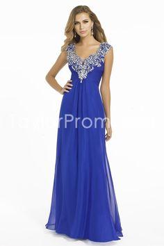 2014 Long V-Neck A-Line Chiffon Prom Dresses
