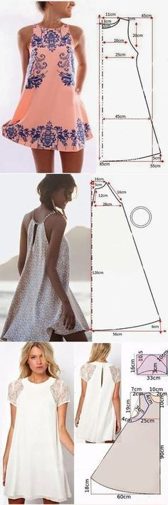 47 New Ideas Dress Pattern Easy Costura Sewing Clothes Women, Dress Clothes For Women, Diy Clothing, Summer Clothes, Fashion Sewing, Diy Fashion, Ideias Fashion, Fashion Ideas, Dress Fashion