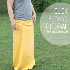 sew: quick ruching tutorial
