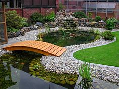 Garden pondlove the wooden bridges