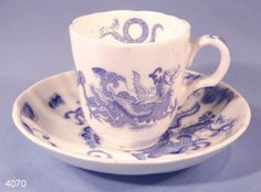 Royal Worcester Blue Dragon Vintage Bone China Coffee Cup and Saucer