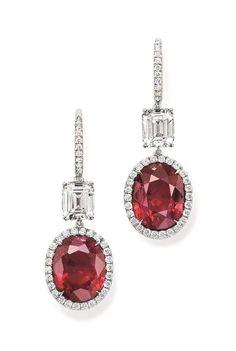 Ruby & Diamond Earrings by Harry Winston