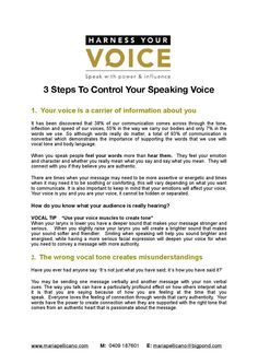 3 steps to control your voice maria pellicano