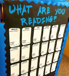 """This is my classroom's """"What are you reading"""" board. Students will use sticky notes to write the title, author, and genre of the book… Genre Bulletin Boards, Interactive Bulletin Boards, Reading Display, Reading Boards, Book Corners, Learning Letters, Student Engagement, Kids Writing, The Book"""