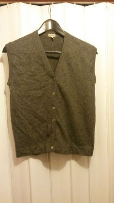 100% Authentic HERMES Women Vest 100% Cashmere SizeM Gray Made in Scotland #HERMS