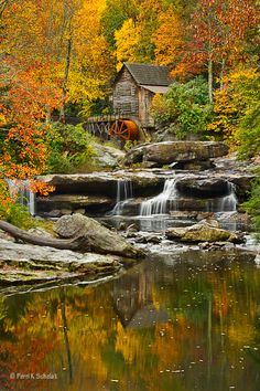 Waterfall @ the Glade Creek Grist Mill at Babcock State Park - West Virginia, USA Beautiful World, Beautiful Places, Peaceful Places, Autumn Scenery, West Virginia, West Va, Belle Photo, Beautiful Landscapes, The Great Outdoors