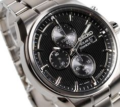 Seiko Men& Solar Titanium Chronograph Watch - In Stock, Free Next Day Delivery, Our Price: Buy Online Now Seiko Titanium, Seiko Solar, Seiko Men, Seiko Watches, Omega Watch, Chronograph, Quality Watches, Stuff To Buy, Accessories