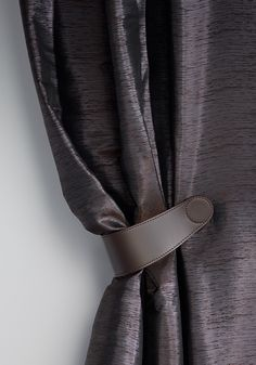 **magnetic tie-back CORDONE. Two magnets are subtly inserted from the inside into the hand-sewn faux leather. Curtain Box, Curtain Tie Backs, Drapes And Blinds, Drapes Curtains, Drapery Fabric, Fabric Decor, Window Coverings, Window Treatments, Classy Living Room