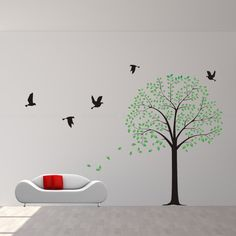tree wall decals with birds wall decor wall sticker by JwheStore, $79.00