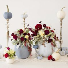 A gorgeous fall wedding tablescape filled with blue painted pumpkins! by Lisa Price Photography