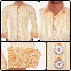 Mens Designer Dress Shirt : Yellow with Orange Paisley