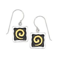 Mirage Collection Square Earring with Swirl Detail
