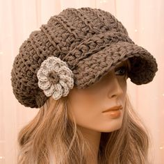 Slouchy Cotton Crochet Newsboy Hat with Flower - All season - Taupe - Made to Order