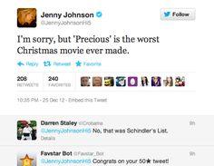 Jenny Johnson has super weird taste in Christmas movies