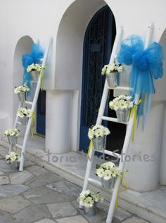 Διακόσμηση εκκλησίας βάπτισης - Victoria Wed Stories Baptism Party, Baptism Ideas, Christening Decorations, Ladder Decor, Birthdays, Baby Shower, Baptisms, Wedding, Candy Bars