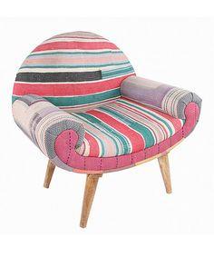 Pink Stripe Boho Patchwork Traveler Chair by Karma Living, $559 !!   #zulilyfinds