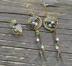 Multi-gemstones antique brass earrigns and ear cuff Etsy: https://www.etsy.com/listing/257983208/multi-gemstones-antique-brass-earrigns