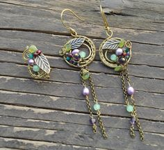 Multi-gemstones antique brass earrigns and ear cuff Etsy: https://www.etsy.com/listing/257983208/multi-gemstones-antique-brass-earrigns