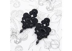 Chandeliers - kolczyki soutache celine black - ein Designerstück von Kavrila bei DaWanda