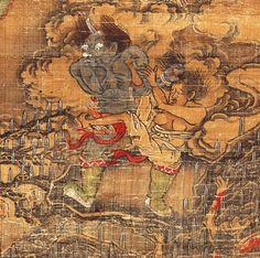 【五殿閻羅王】局部1 元 陸仲淵 絹本著色金泥掛軸。 縱85.9 cm橫50.8 cm 14世紀 奈良國立博物館藏。