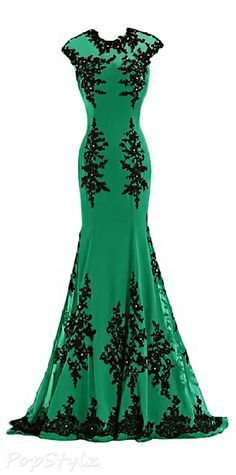 Sunvary Green & Black Formal Chiffon Long Gown