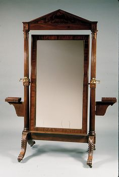 American Cheval Glass Mirror, mahogany, mahogany veneer, brass, ca. 1815. Geography: Mid-Atlantic, New York City, New York, United States