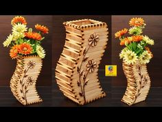 How to make flower vase with popsicle sticks Popsicle Stick Crafts, Popsicle Sticks, Craft Stick Crafts, Yarn Crafts, Diy Crafts, Paper Crafts, Craft Sticks, Flower Vase Making, Flower Vases