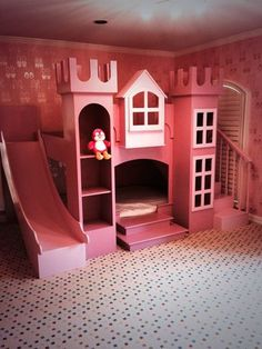 Princess castle twin tent bunk bed with slide by powell company