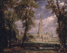 This painting is an oil on canvas called Salisbury Cathedral from the Bishop's Grounds painted in 1825 by John Constable. The Constable family visited this cathedral a lot and he finally decided to paint it.