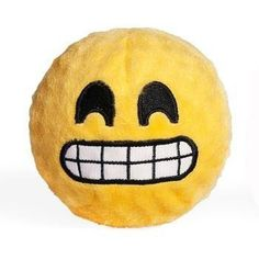Emoji Faballs Dog Toy - Grinning. The Grinning Emoji Faballs Dog Toy will bouncy and squeak into your millennial pups heart!! Super soft cotton material over ball Ball is giant squeaker Made of non-toxic materials Stuffing free Why We Love It:This Grinning Emoji will give your dog hours of hip fun from the Emoji Faballs Dog Toy. TPR Squeaker ball with nubs under a soft cotton fabric and embroidered face. Great for fetch and soothing gums! Spot clean with water.Sizing...