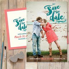 Handwritten Photo Save-The-Date Wedding by cardcandydotcom on Etsy