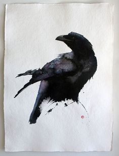 Karl Martens Awesome watercolor portrait of a Raven or crow Crow Art, Raven Art, Bird Art, Art Aquarelle, Illustration Art, Illustrations, Bird Drawings, Watercolor Bird, Art Graphique