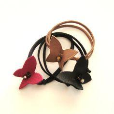 Butterfly leather bracelet set of three