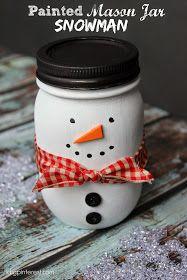 I Dig Pinterest: Painted Mason Jar Snowman Craft/Gift