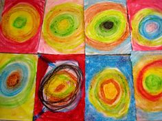 We used small pieces of paper so everyone could do lots of different versions and see which colour combinations they liked the best. The texture of the oil pastels worked perfectly for this design as the colours blended together so well.