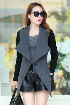 Shop High Quality Color Block Long Sleeve Woolen Overcoat  At Dressve.Com, And The Price Is Low Only At US$25.99