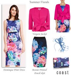 Coast summer wedding guest and race day styles for Ascot. Dominique floral pencil dress and skirt bright pink belted jacket matching clutch & fascinator