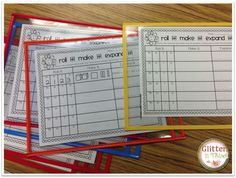 Erasable pouches are perfect for math center games!