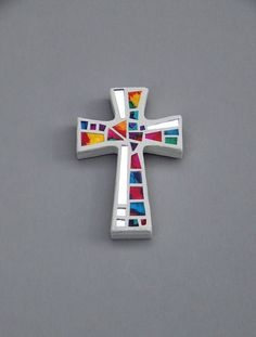 "Mosaic Wall Cross, Small, White with Hand Painted Rainbow Glass + Silver Mirror, Handmade Stained Glass Mosaic Cross Wall Decor, 6"" x 4"" by GreenBananaMosaicCo"